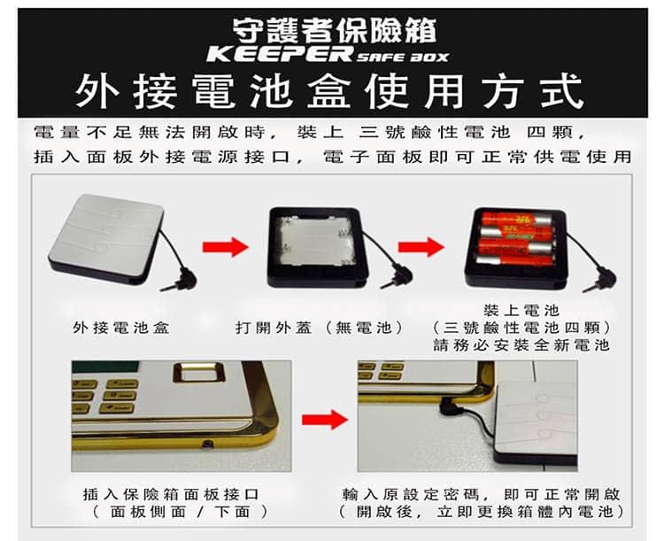 保險箱的「外接電池盒」正確安裝方式!